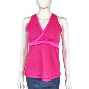 Lululemon Deep V Pink Tank Top with Mesh & Pocket